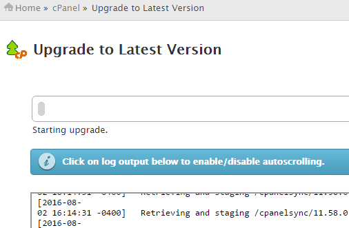 cPanel upgrade going on
