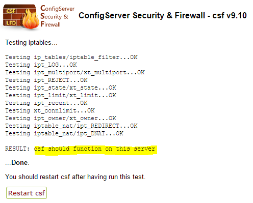 CSF iptables module test