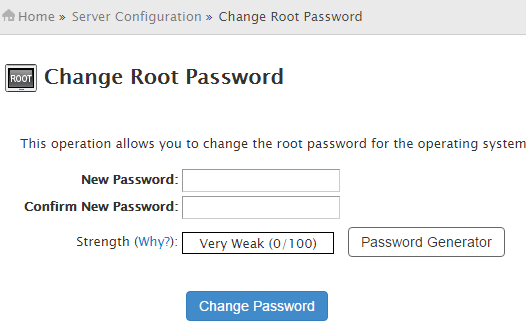 WHM : Change Root Password