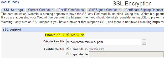 Disable SSL Webmin Miniserv