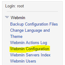 Disable SSL encryption webmin