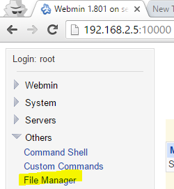 File Manager in Webmin Control Panel