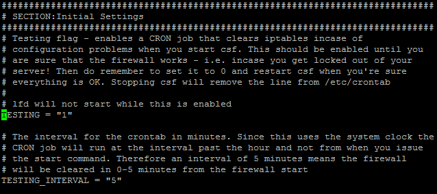 How to Disable Testing mode in CSF firewall