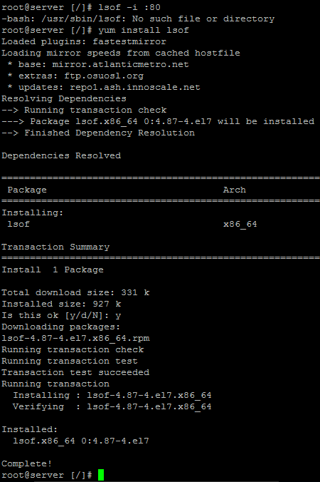 How to Install lsof command on CentOS RHEL 7 Linux Server