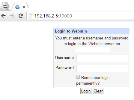 Login to Webmin Control Panel
