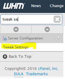 Search For Tweak Settings in WHM