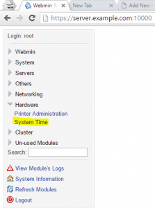 Set Date Time and Timezone on Webmin Server