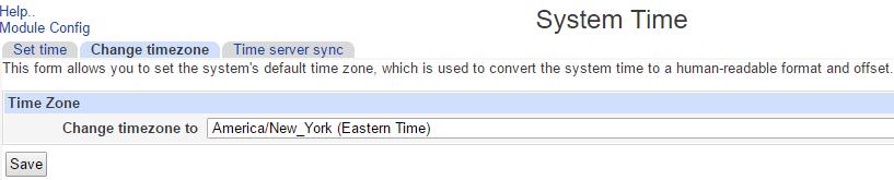 Set Timezone on webmin Server