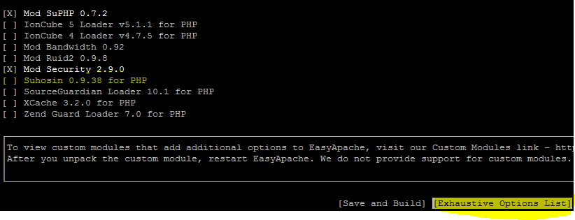 Enable php Suhosin in Easyapache