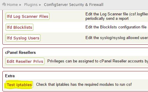 CSF Iptables Module Check - Check Iptables modules to run CSF