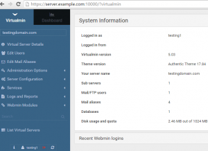 Virtualmin home page
