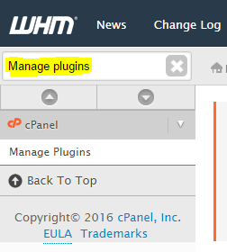 WHM - Manage Plugins