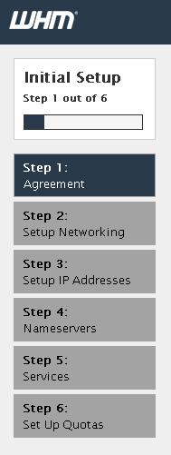 WHM initial Setup Steps