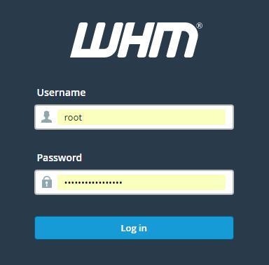 WHM login Page