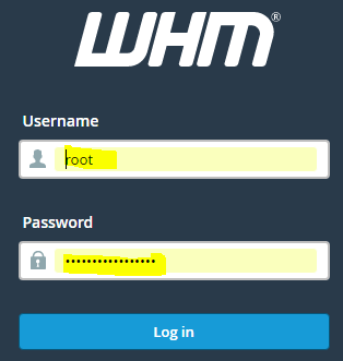 Enter WHM username and password