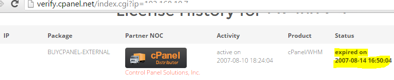 cPanel license verification