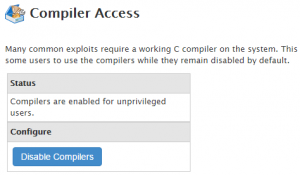 Disable Compilers cPanel