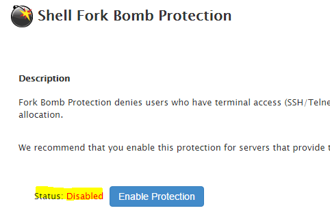 Disable Shell fork bomb protection