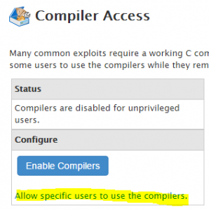 Enable compiler specific users