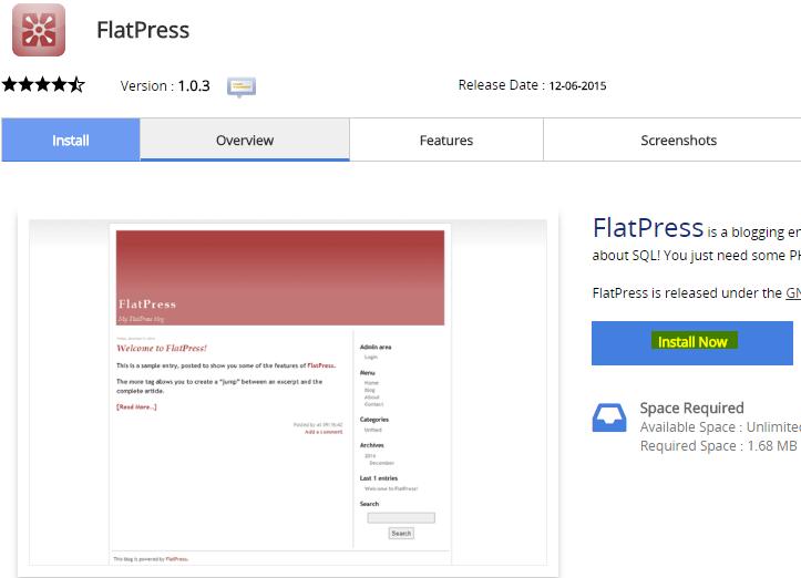 Install Flatpress blog