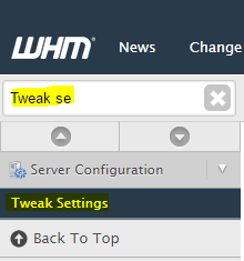Tweak settings