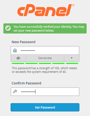 new cpanel password