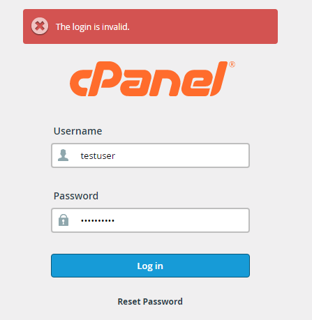 cpanel login is invalid
