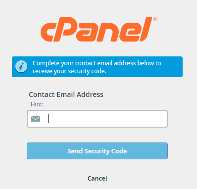 cpanel password security code