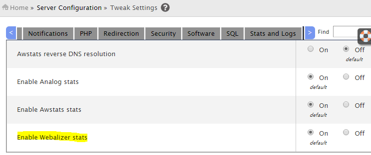 enable disable webalizer stats