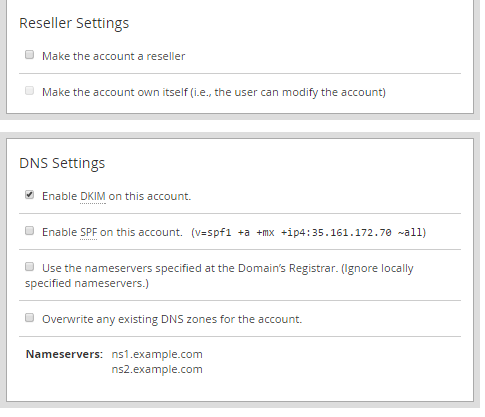 Reseller Settings and DNS Settings