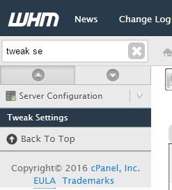 Search tweak settings cPanel