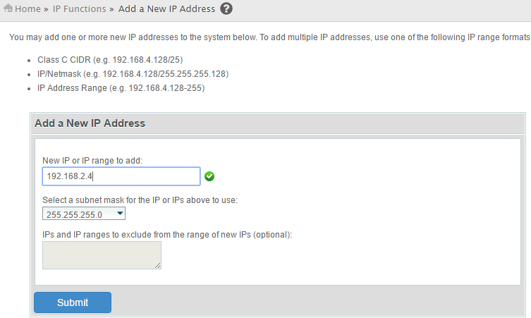 Add an IP address cPanel WHM