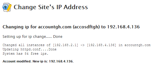 Change site IP from WHM