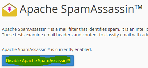 Disable spam assassin spam filter