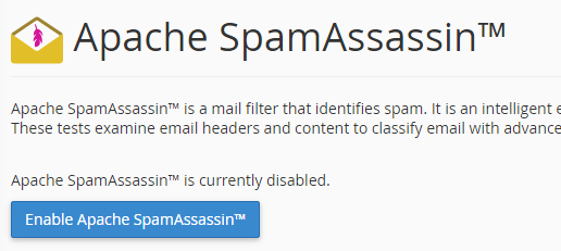 Enable Spam filter cPanel