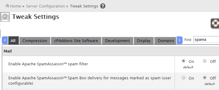 Enable Spamassassin spam filter cpanel