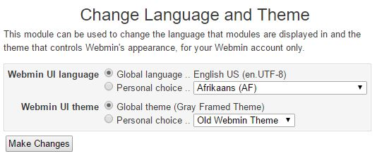 Change language and theme - Webmin
