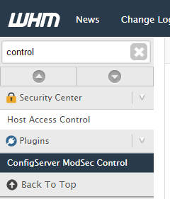 mod security control cpanel