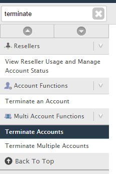 terminate cpanel account