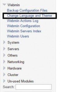 webmin change language and theme
