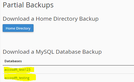 Backup mySQL database cPanel