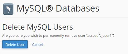 Delete mySQL user cPanel
