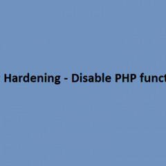 Disable PHP functions