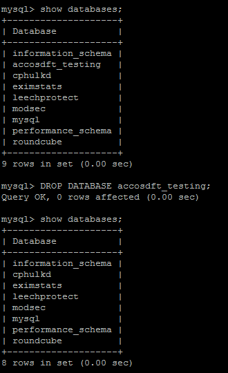 Drop mysql Database command