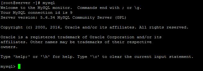 Login mySQL prompt
