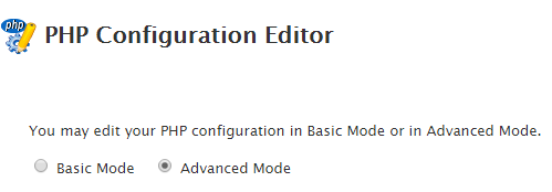 PHP configuration editor WHM