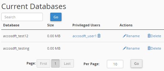 Remove mySQL database