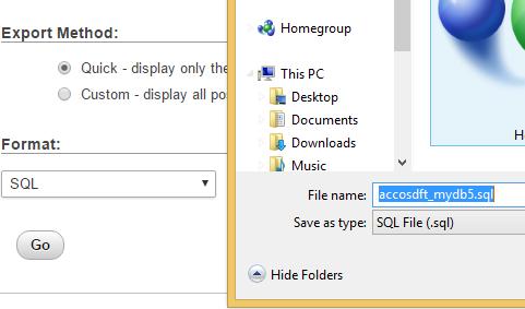 Save sql backup phpmyadmin