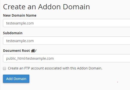 add new addon domain cPanel