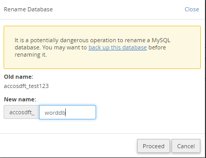 change database name